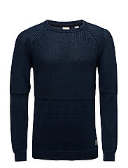 Home Alone structured crew neck knit - INDIGO