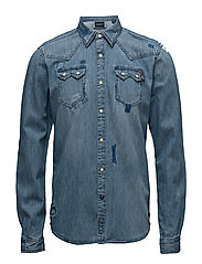 Ams Blauw denim sawtooth shirt - DENIM BLUE