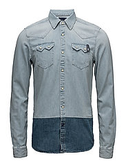 Ams Blauw denim sawtooth shirt - WASHED INDIGO