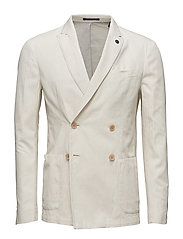 Double breasted blazer in cotton/ linen - BONE WHITE