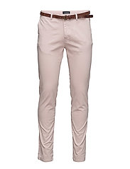 Classic garment dyed chino pant in stretch cotton - SUNSET DUST