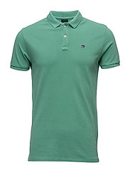 Garment dyed polo in pique - MINT