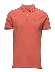 Garment dyed polo in pique - TANGERINE
