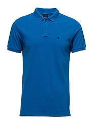 Garment dyed polo in pique - TRUE BLUE