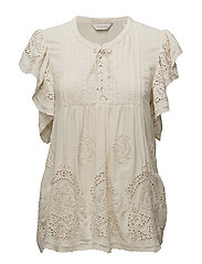 Viscose top with special cut out broderie fabric - INDIGOVINTAGE WHITE