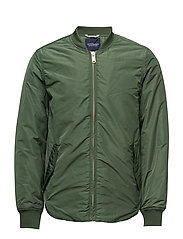 Sporty nylon bomber with racing stripe details - LUCKY GREEN