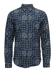 Regular fit double weave indigo shirt with refined details - COMBO C