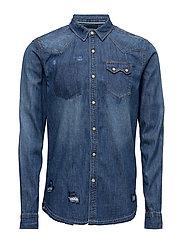 Ams Blauw premium sawtooth shirt in regular fit - DENIM BLUE