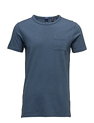 Ams Blauw regular fit tee in autumn colours with wash effect - LASSO BLUE