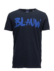 Ams Blauw signature printed tee in regular fit with relaxed - MIDNIGHT