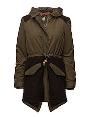 Winter parka with detachable hood - MILITARY GREEN