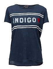 Fine indigo jersey tee with chest artwork - INDIGO