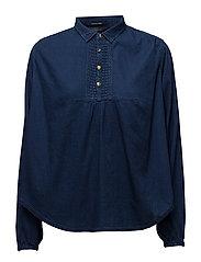 Sheer cotton indigo top with special detailing - WASHEDINDIGO