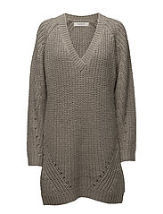 Knit dress with deep V-neck - INDIGOGREY MELANGE