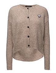 Loose fitted cardigan with big slit at bottom - SAND MELANGE
