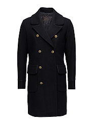 Long captain coat in wool quality with corpiping details - NIGHT