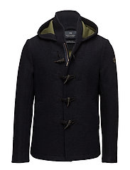 Hooded jacket in jersey bonded wool quality with toggle - MIDNIGHT