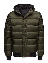 Quilted down bomber jacket in nylon quality with hood - ARMY