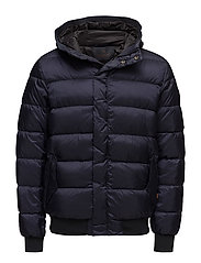 Quilted down bomber jacket in nylon quality with hood - NIGHT