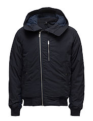 Hooded down bomber jacket with asymmetric zip closure - NIGHT