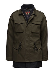 Fieljacket with fake inner in wool blenquality - ARMY