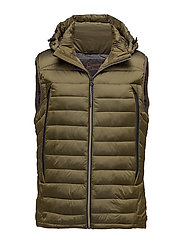 Quilted bodywarmer in nylon quality with removable hood - MILITARY