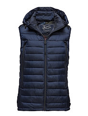 Quilted bodywarmer in nylon quality with removable hood - NIGHT