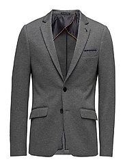 Classic knitteblazer in two-tone quality - CHARCOAL