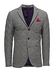 Quilted blazer in tweed wool quality - GREY MELANGE