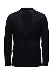 Classic knitted blazer in  wool blend quality - NIGHT MELANGE
