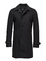 Long gentleman wool coat with zip closure - GRAPHITE MELANGE