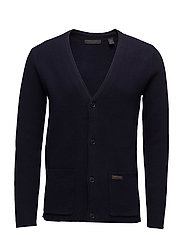 Clean classic cardigan in lambswool/nylon quality - NIGHT