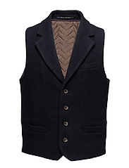 Gilet with lapel in wool quality - NIGHT