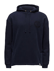 Classic hoodie in clean felpa quality with droppeshoulder - NAVY