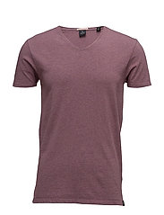 Classic v-neck tee in cotton/elastane quality - DIRTY PURPLE MELANGE