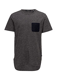 Short sleeve tee with contrast chest pocket and small embroi - CHARCOAL MELANGE