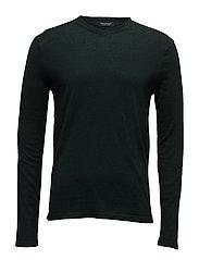 V-neck pullover in soft cotton quality - BOTTLE GREEN MELANGE