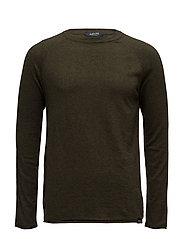 Crewneck pullover in mélange cashmere-blend quality - ARMY MELANGE