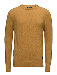 Pullover with coloured neps and double collar detail - SIGNAL YELLOW MELANGE