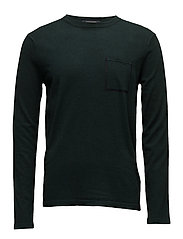 Crewneck pullover in soft cotton quality  with contrast ches - BOTTLE GREEN MELANGE