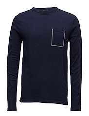 Crewneck pullover in soft cotton quality  with contrast ches - NAVY MELANGE