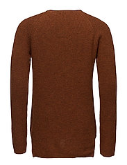 Crewneck pullover in soft wool-blend quality - RUST MELANGE