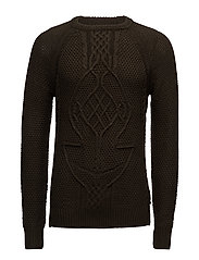 Cable knit crewneck pullover in Monsanto quality - DEEP FOREST