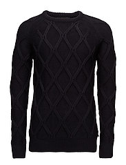 Cable knit crewneck pullover in Monsanto quality - NIGHT
