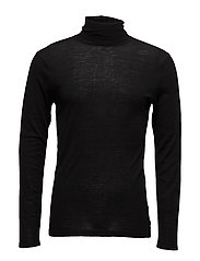 Classic turtleneck pullover in merino wool quality - BLACK