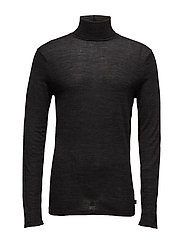 Classic turtleneck pullover in merino wool quality - GRAPHITE MELANGE