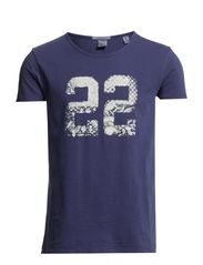 Compact jersey tee with summer sports prints - 37 cobalt