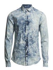 Indigo dress shirt with denim washings. - dessin C