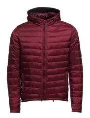 Basic hooded quilted jacket - 34 cranberry