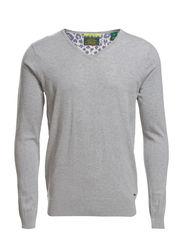 Classic cotton melange v-neck pull - 970 grey melange